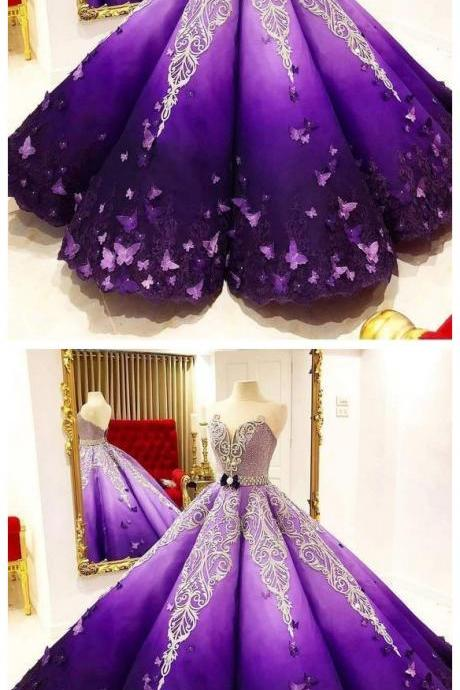 P3493 Strapless Butterfly Quinceanera Dress Purple Ball Gown