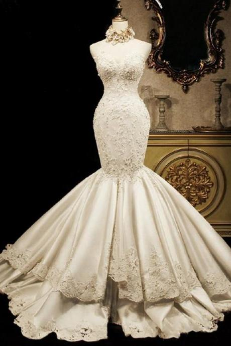 W3554 Appliques Mermaid Wedding Dress(necklace not included)