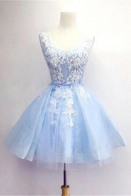 H3582 Light Blue Short Prom Dresses,V-neck Lace Homecoming Dresses,Homecoming Dress,Party Dresses,Short Dress