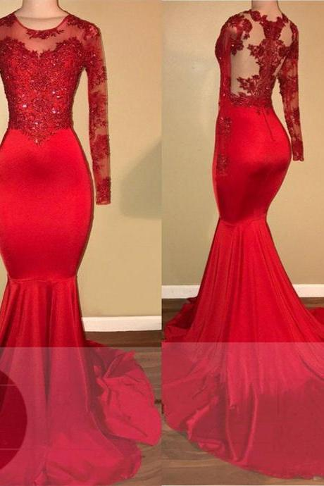 P3583 Long Sleeves Red Mermaid Prom Dress with Appliques , Long Prom Dress,Prom Dresses,Evening Gown,Floor Length Long Prom Dresses