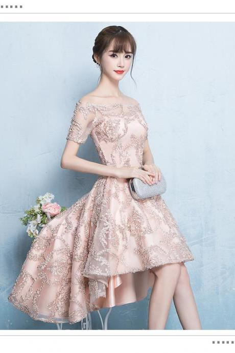 H3584 Bridesmaid Fairy Dress, Blushing Pink Party Dress, High Low Homcoming Dress,Custom made