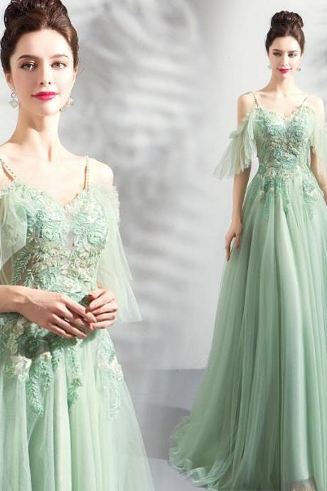 P3486 Green princess gown Evening party dress,tulle prom dresses,party dress