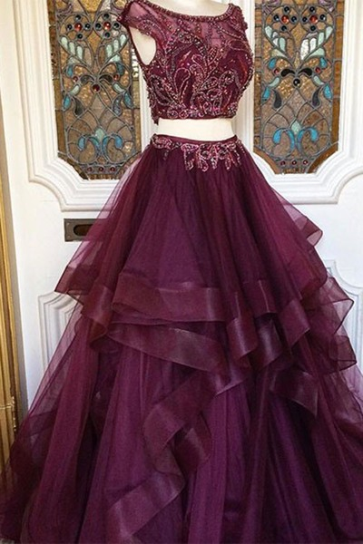 P3587 Two Pieces Charming Tulle prom dress, sexy prom dress,Charming prom dress, long prom dress,prom dresses, elegant prom dress, prom dress