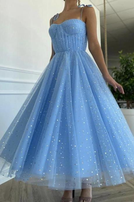 H3590 Blue tulle tea length prom dress blue evening dress