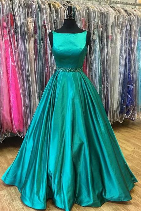 P3592 A-Line Beadings Prom Dress,Green Sleeveless Prom Dresses,Stunning Prom Dress