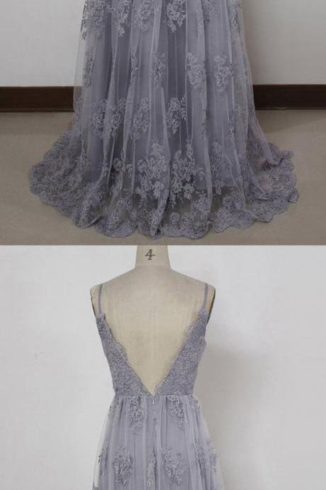 3597 Lace Prom Dresses, A-line V-neck Party Dress, Tulle Sweep Train Long Formal Dresses