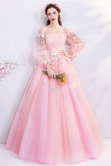 P3600 Fairy Pink Butterfly Off Shoulder Poofy Prom Dress With Long Sleeves