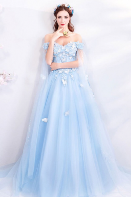 P3602 Dreamy Fairytale Blue Tulle Long Prom Dress Off Shoulder With Butterflies