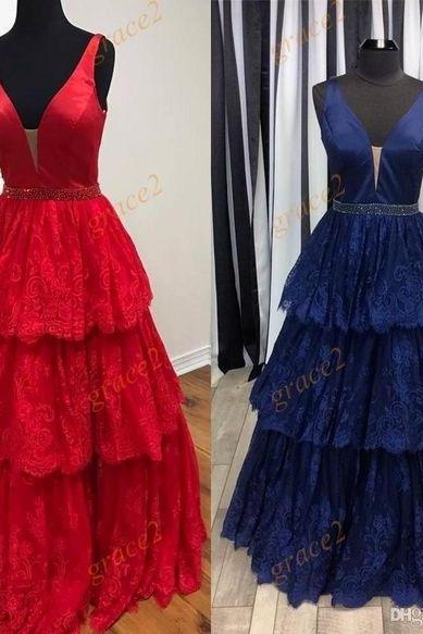Famous Designer Prom Dresses 2017 Styles with Deep V Neck and Tiered Skirt Real Pictures Lace Little Ballgown Quinceanera Dress Custom Made