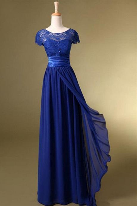 Royal Blue Prom Dress,Long Charming Prom Dress,Short Sleeve Evening Dress