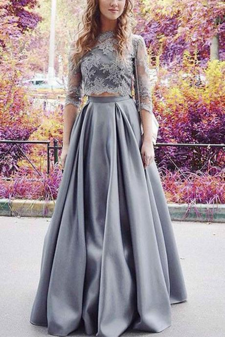 Modest Half Sleeves Prom Dress,Two Pieces Prom Dress,Lace Crop Prom Dress,A-line Satin Prom Dress,2 Pieces Sexy Prom Dress