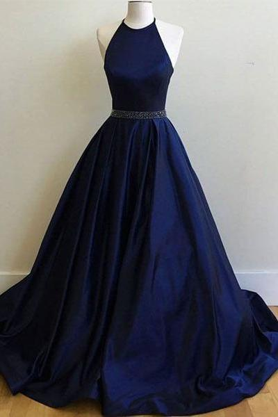 Sexy Prom Dresses,Navy Blue Prom Dress,Halter Long Prom Dresses,Party Gown,Graduation Dresses,Formal Dress For Teens,Simple Halter Prom dress