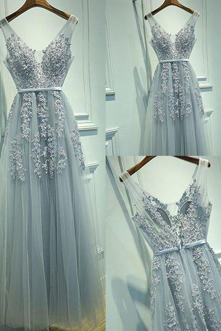 Gray A-line Tulle Long Prom Dress, Sexy V Neck Prom Dress, Elegant Evening Formal Dress, Lace Tulle Evening Dress, Woman Dresses