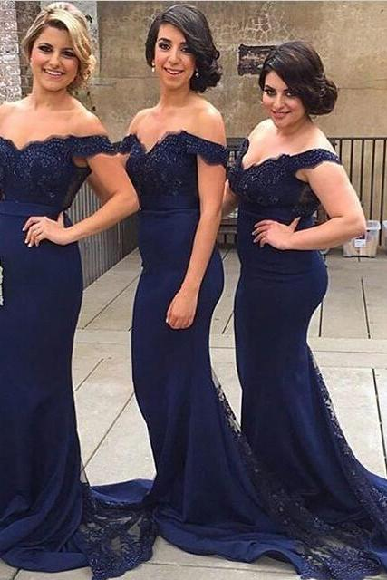 Mermaid Off Shoulder Court Train Lace Navy Blue Bridesmaid/Prom Dress