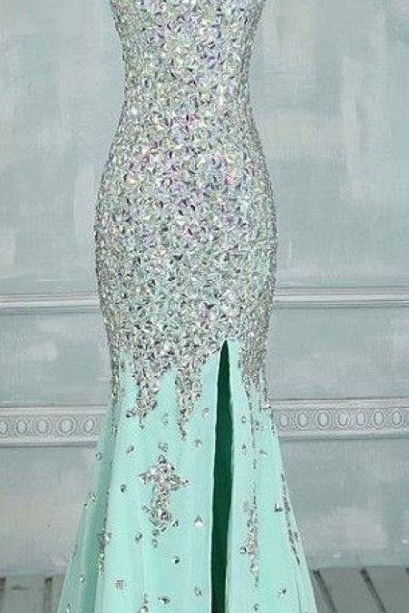 Real Made Prom Dresses, Floor-Length Prom Dresses, Mint Green Prom Dresses, Sequin Shiny Front Split Prom Dresses, Charming Prom Dresses