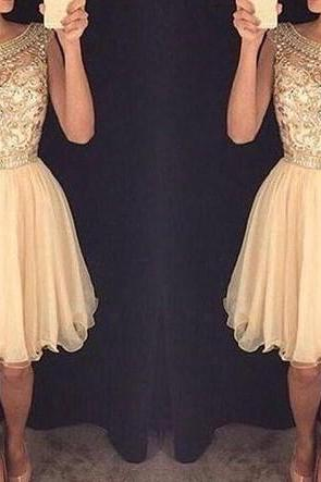 Champagne Homecoming Dress, Short Summer Prom Party Dress, Charming Tulle Homecoming Dress