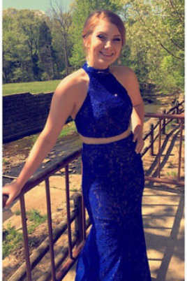 2017 Custom Sexy Blue Prom Dress,Halter Prom Dress,Lace Prom Dress,Two Pieces Evening Dress