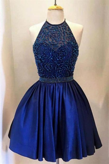 Royal Blue Homecoming Dresses,Halter Homecoming Dresses,Beading Homecoming Dress,Beading Homecoming Dress