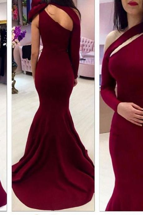 Burgundy Mermaid Prom Dresses 2017 Sexy Backless Lace Burgundy Evening Gowns Dress