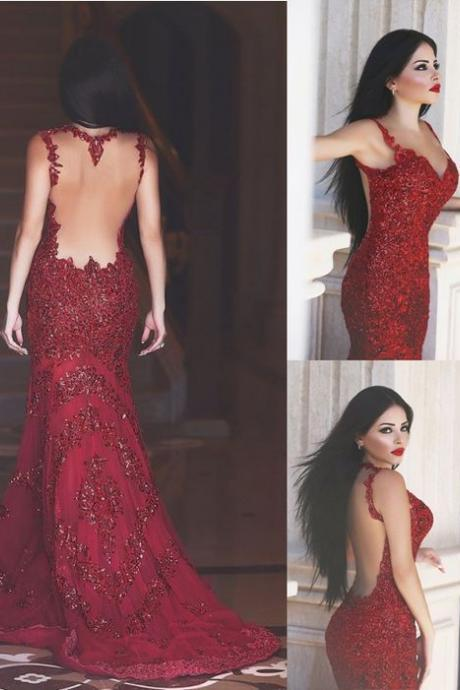 Burgundy Prom Dress,Beading Prom Dress,Mermaid Style Prom Dress,Backless Prom Dress,Sexy Floor Length Evening Dress