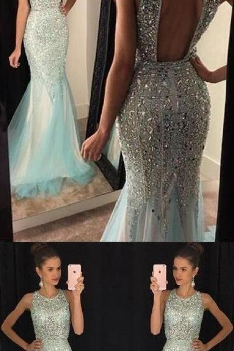 2017 Fashion Prom Dresses,Prom Dress,Tulle Formal Gown,Backless Prom Dresses,Sparkle Evening Gowns,Tulle Formal Gown For Teens