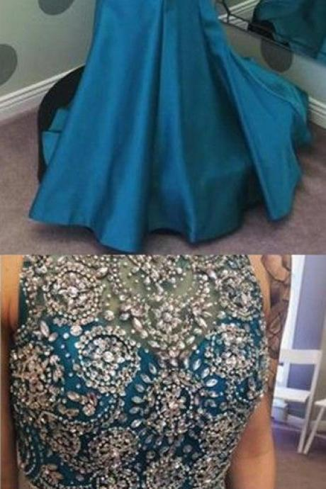 Charming Prom Dress,2 Pieces Prom Dress,Satin Prom Dress,Beading Evening Dress Newest Crystals Two Piece Prom Dress 2017 Mermaid Zipper Sweep Train