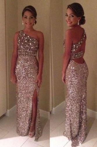 Beaded Bodice Prom Dress,Sexy Prom Dress with Sequins,One Shoulder Prom Dress,Prom Dress Backless,Evening Dress with Split