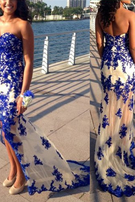 Charming Prom Dress,Sweetheart Prom Dress,Appliques Prom Dress,Mermaid Evening Dress