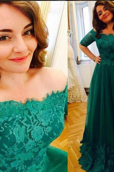 Charming Prom Dress,Tulle Prom Dress,Short Sleeves Prom Dress,Appliques Evening Dress