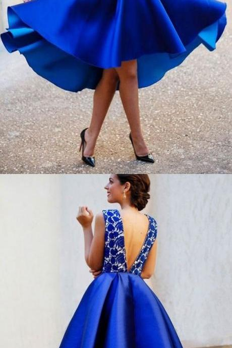Royal Blue Homecoming Dresses,V Back Graduation Dresses,Fashion Homecoming Dress,Sexy Party Dress,Custom Made Evening Dress