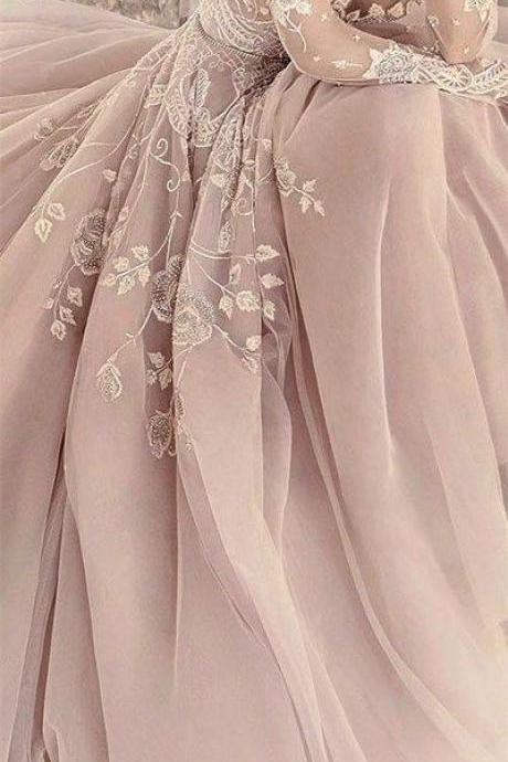 2017 Custom Charming Blush Pink Prom Dress,Embroidery Prom Dress, Long Sleeves Prom Dress,See Through Evening Dress
