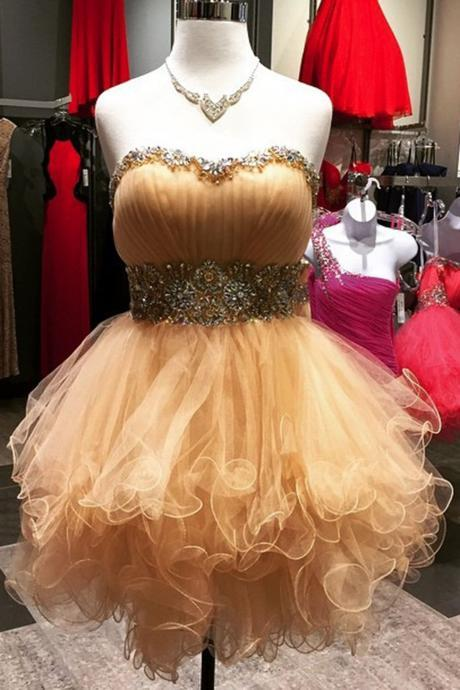 Prom Dress,Prom Gown,Cute Prom Dress,Tulle Ruffles Beaded Prom Dress,Prom Party Dress