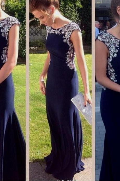 Navy Blue Prom Dress,Mermaid Prom Dress,Cap Sleeves Evening Gowns,Beaded Prom Gown,Formal Women Dress