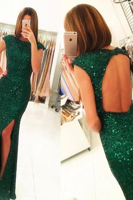 Green Sequins Lace Prom Dress with Cap Sleeves,Mermaid Prom Dress with Slit,Backless Prom Dresses
