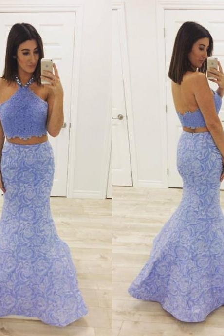 Lavender Lace Prom Dress,2 Pieces Prom Dress,Mermaid Formal Dress,2017 Pageant Dress