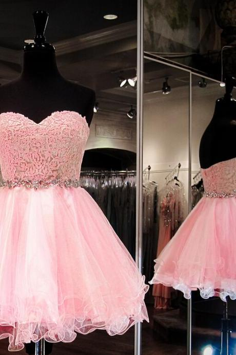 Custom Made Sweetheart Strapless Mini Homecoming Dress, Short Prom Dress, Beading Homecoming Dresses,Sweetheart Graduation Dresses,Homecoming Dress,Short/Mini Tulle Prom Dress