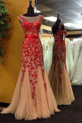 Champagne Tulle with Red Lace Appliqued Prom Dress,Mermaid Formal Dress,2017 Prom Dress