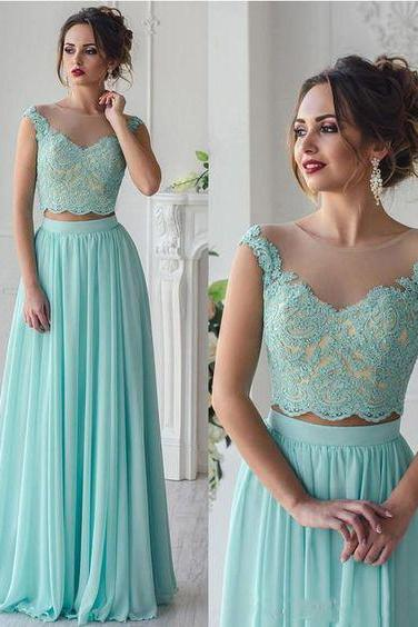 Mint Chiffon Two Pieces Prom Dress,Lace Appliqued Formal Dress,2 Pieces Pageant Dress