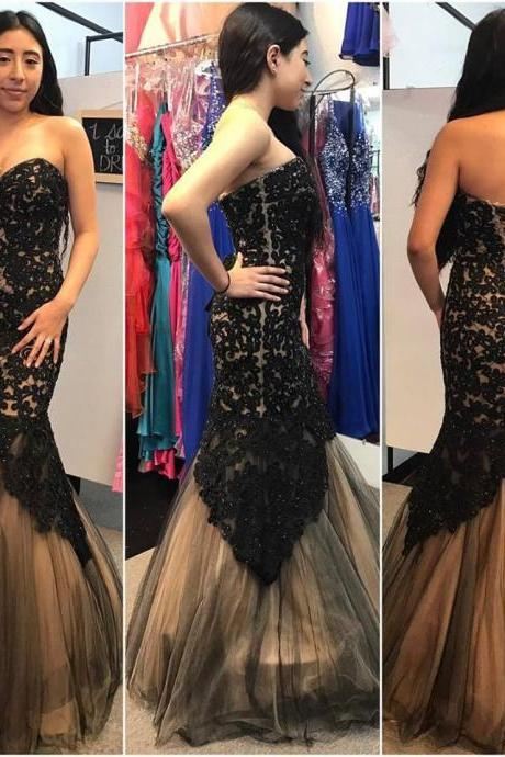 Black Lace Mermaid Prom Dresses,Strapless Evening Dresses,Long Pageant Gowns