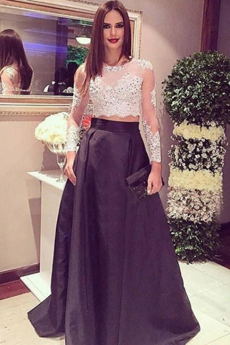 Two Pieces Prom Dresses,Black Prom Dresses,Lace Prom Dress,Prom Gowns,Prom Dresses For Teens,2017 Prom Dresses