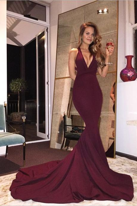 Real Sexy Long Mermaid Prom Dresses,Plum Prom Dress For Teens,Handmade Evening Dresses,Simple Cheap Backless Prom Dresses,Party Dresses,Prom Gowns