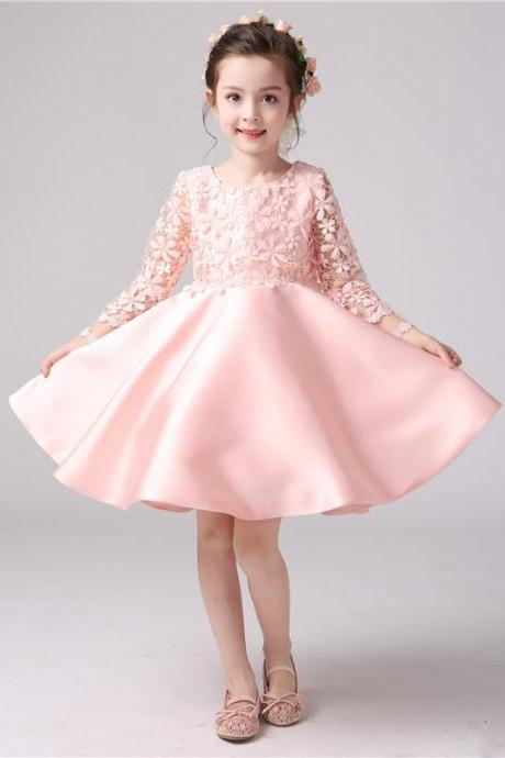 Pink flower girl dresses luulla custom made pink floral applique long sleeve satin short evening dress party frock flower mightylinksfo