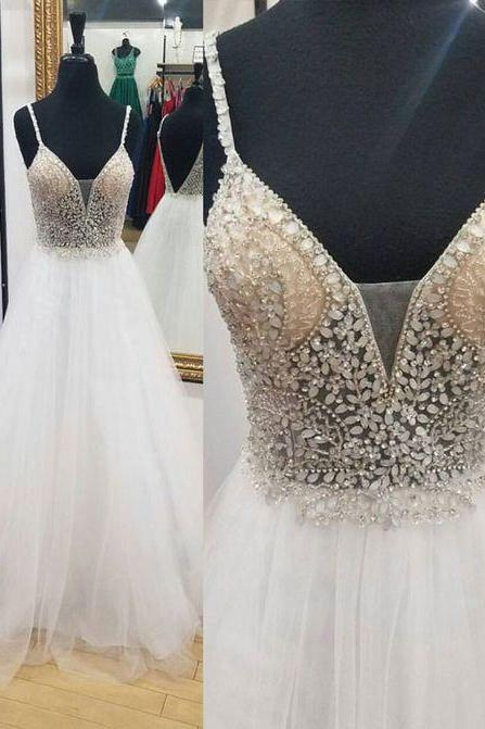 Luxurious A-Line Deep V-Neck Spaghetti Straps White Tulle Long Prom Dress