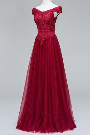 Pretty Evening Dresses Beautiful Tulle Wine Red Off Shoulder Prom Dresses, Long Prom Dresses 2017, Party Gowns