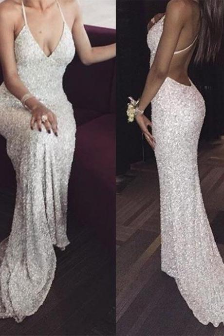 White sequin mermaid long prom dress for teens, sequin evening dress,