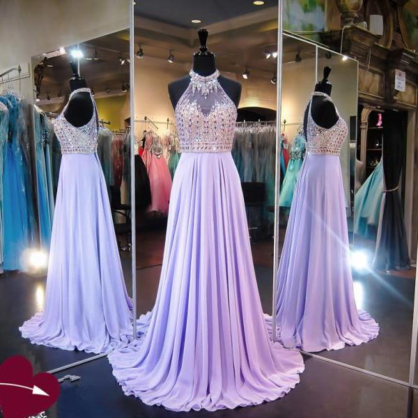 Sparkly Lavender Floor Length Chiffon Formal Dresses Featuring Rhinestone Beaded Bodice With Halter Neckline -- Long Elegant Prom Dresses,Sexy Evening Gowns