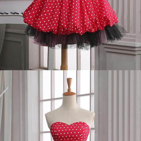 Red Homecoming Dresses,Polka Dots Homecoming Dresses,Short Homecoming Dress,Sweetheart Homecoming Dress,Homecoming Dress,Cute Dresses,Cocktail Dresses,Graduation Dresses,Short Homecoming Dresses