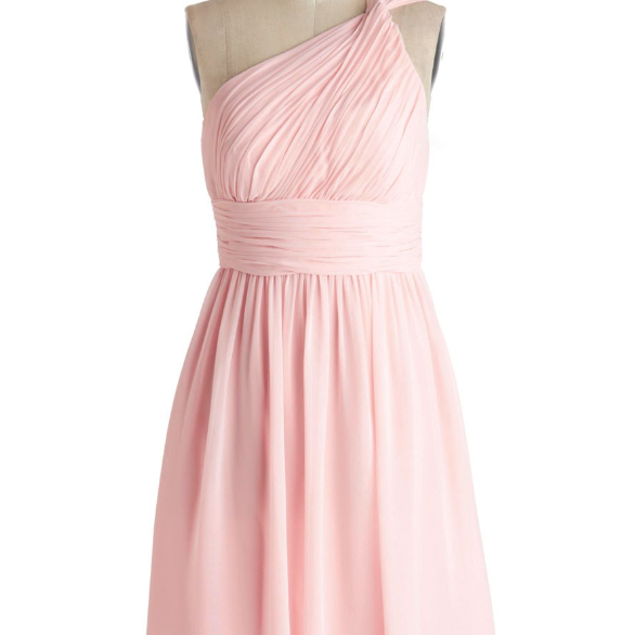 Simple Dress A-line One-shoulder Pink Chiffon Bridesmaid Dresses, Wedding Reception Dresses