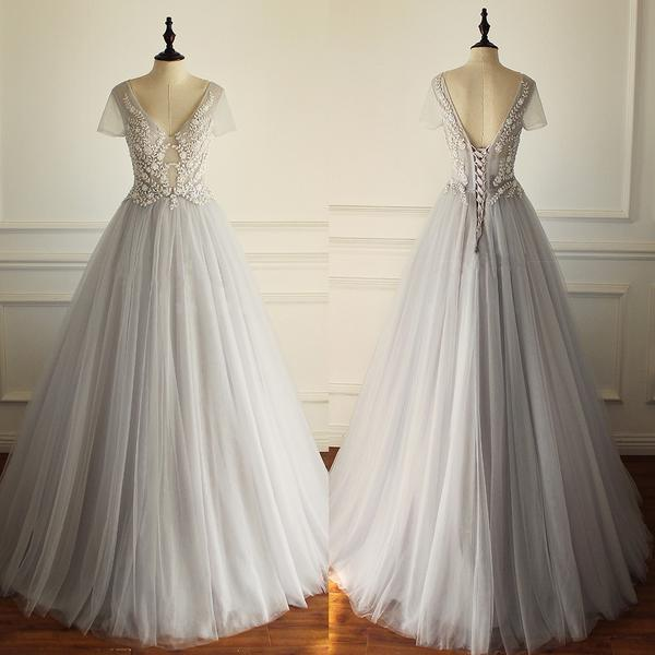 2017 Charming Lace Up Back Tulle Short Sleeves Gorgeous V Neck Sexy Pretty New Wedding Dress , Bridals Dress