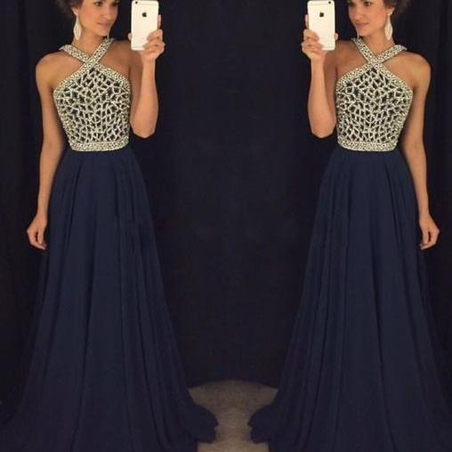 Dark blue prom dress,Halter beaded a line dresses,Floor lengths evening dresses